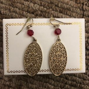 Gold with red bead earrings